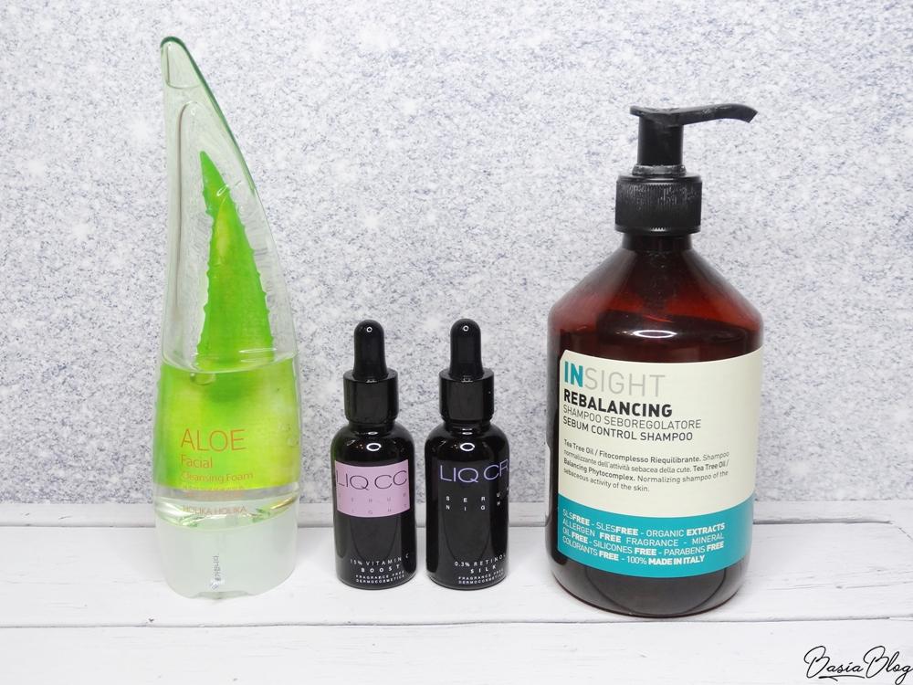 pianka aloesowa do mycia twarzy Holika Holika, serum z witaminą C LIQ CC, serum z retinolem LIQ CR, Insight Rebalancing szampon do włosów przetłuszczających się