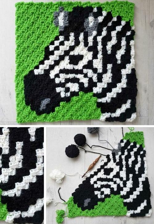 Zebra C2C Square - Free Crochet Pattern