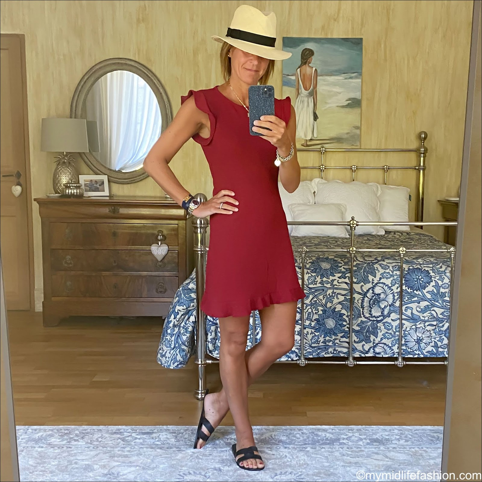 my midlife fashion, h and m Panama hat, mango short ruffled dress, Ancient Greek desmos cutout leather slides