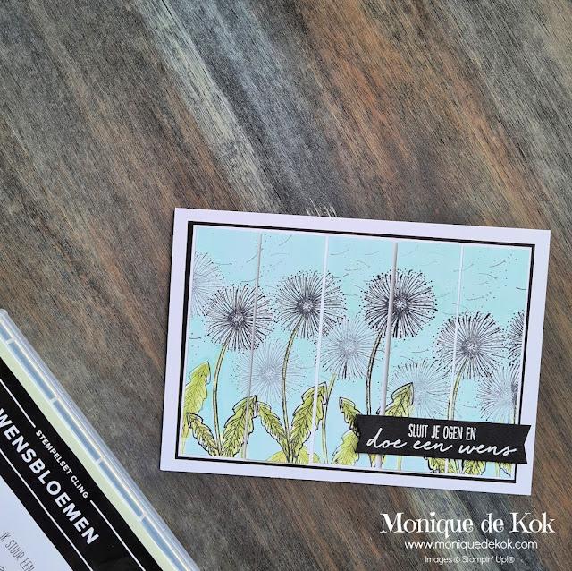 Wensbloemen, zelfgemaakte kaart, stampin up, stempelset, garden wishes, stampin blends, Global design Project, GDP#302, Stampin met Monique