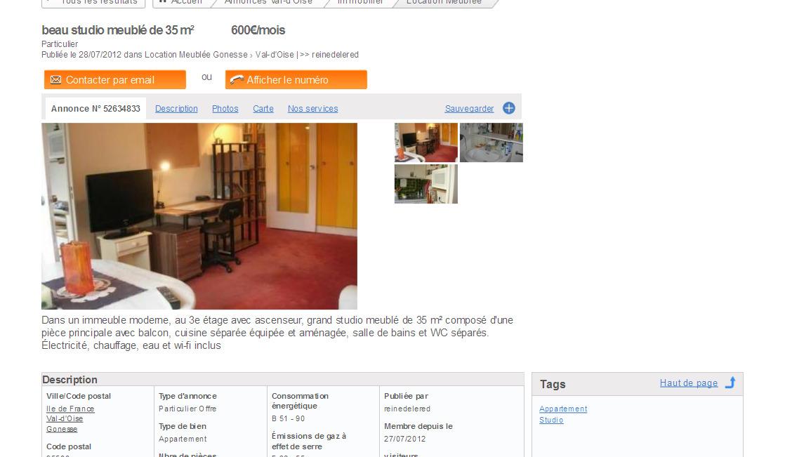 Gro es studio m bliert von 34 - Location studio meuble ile de france ...