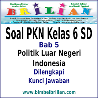 Soal PKN Kelas 6 SD Bab 5 Politik Luar Negeri Indonesia Dan Kunci Jawaban