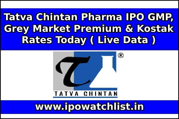 Tatva Chintan Pharma IPO GMP, Grey Market Premium & Kostak Rates Today ( Live Data )