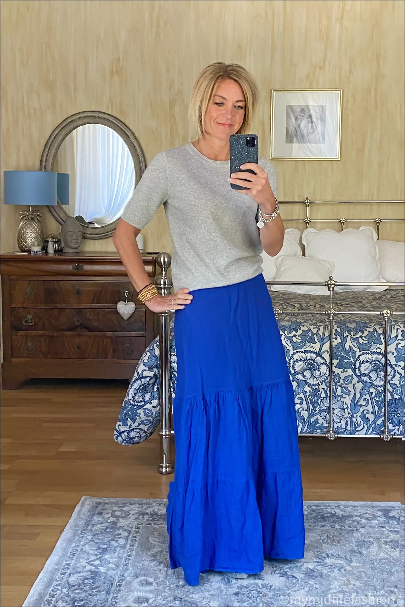 my midlife fashion, phase eight arvinder linen tiered maxi skirt, marks and Spencer pure cashmere short sleeve crew neck jumper, j crew suede tassel ballet flats