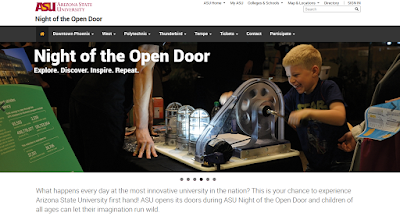 screenshot from ASU night of the open door website with ASU night of the open door logo. Explore, Discover, Inspire, Repeat. Photo of small blonde boy playing with scientific tool and big smile