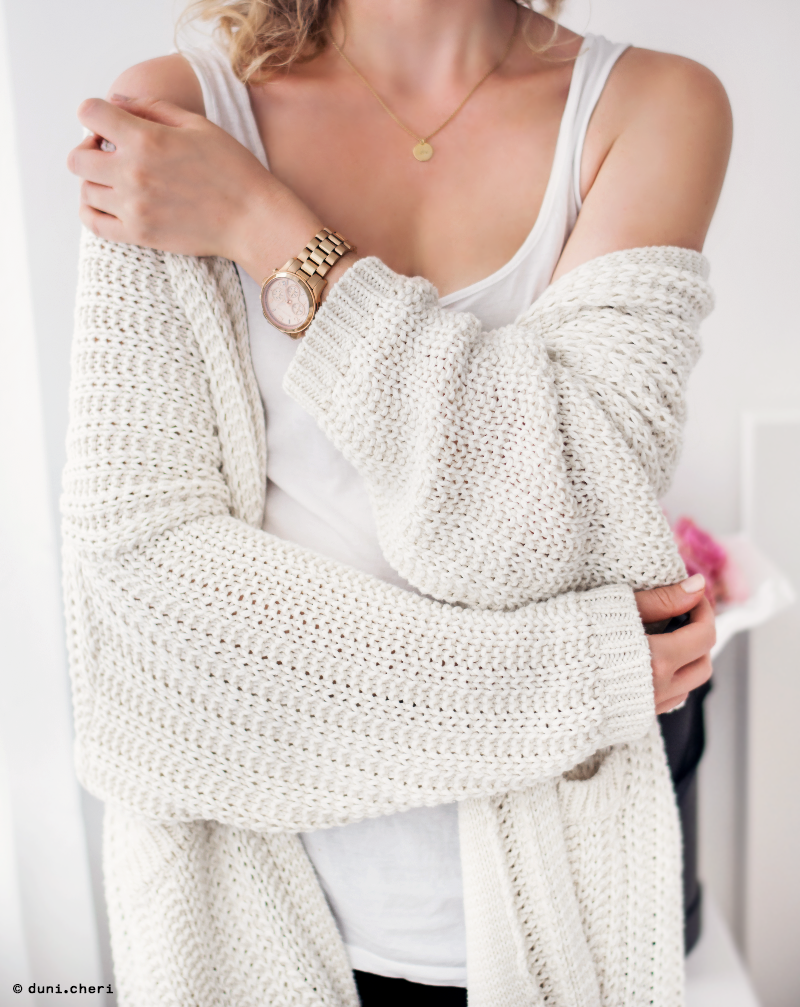 oversized strick cardigan weiss michael kors uhr rosegold