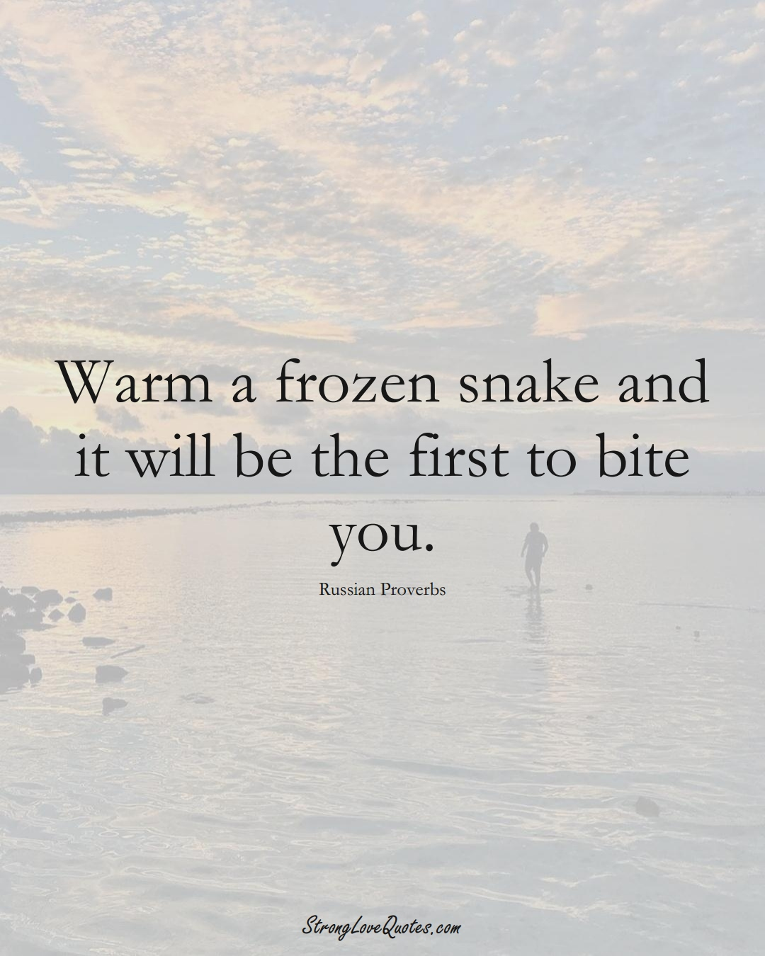 Warm a frozen snake and it will be the first to bite you. (Russian Sayings);  #AsianSayings