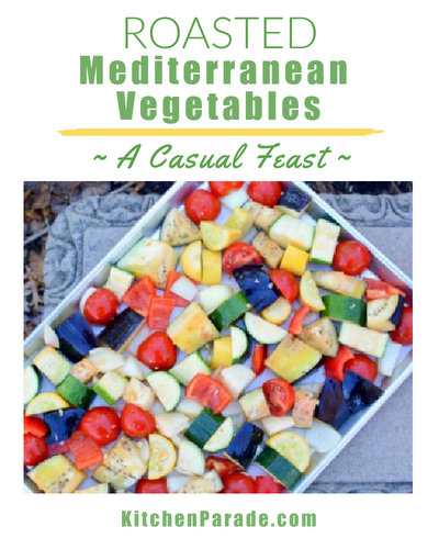 Roasted Mediterranean Vegetables ♥ KitchenParade.com, barely roasted, big chunks meant for casual sharing. Vegan. WW Friendly. Low Carb.