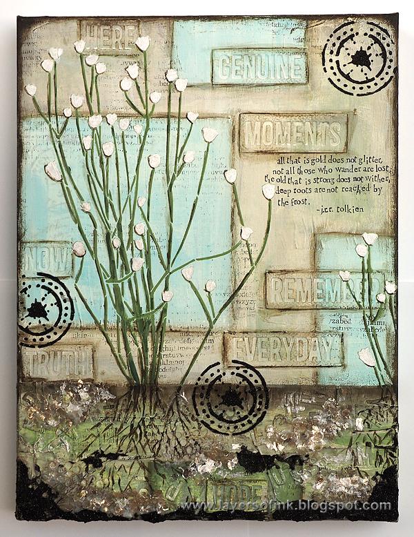Layers of ink - Roots Mixed Media Canvas tutorial by Anna-Karin