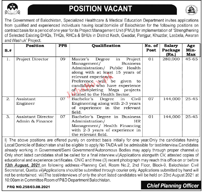 Latest Jobs in  Healthcare & Medical Education Department  2021
