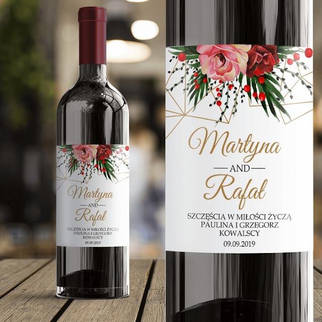 ETYKIETA na Wino Prezent Ślubny Życzenia dla Nowożeńców