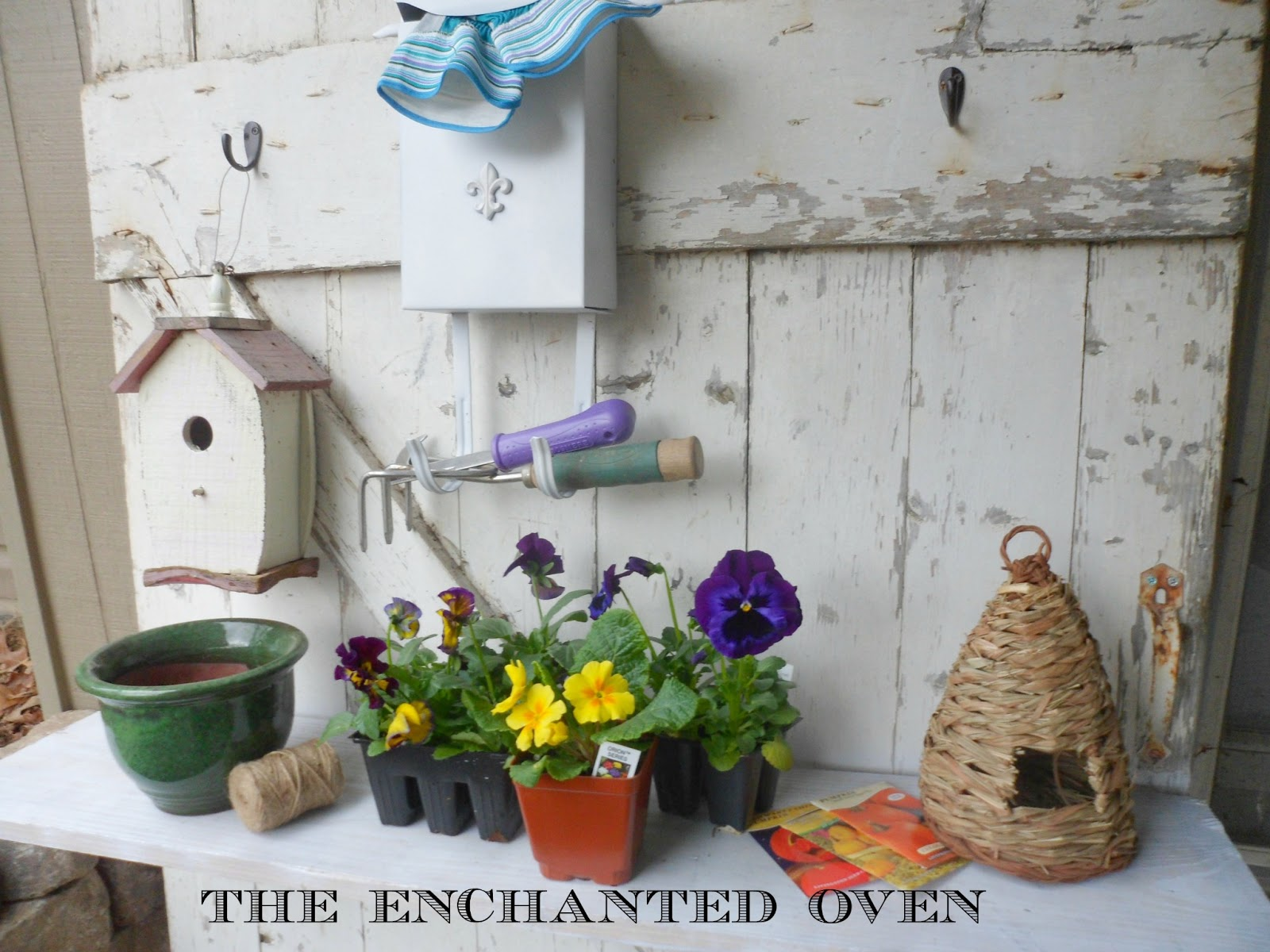 The Enchanted Oven: Potting Bench From Salvaged Door