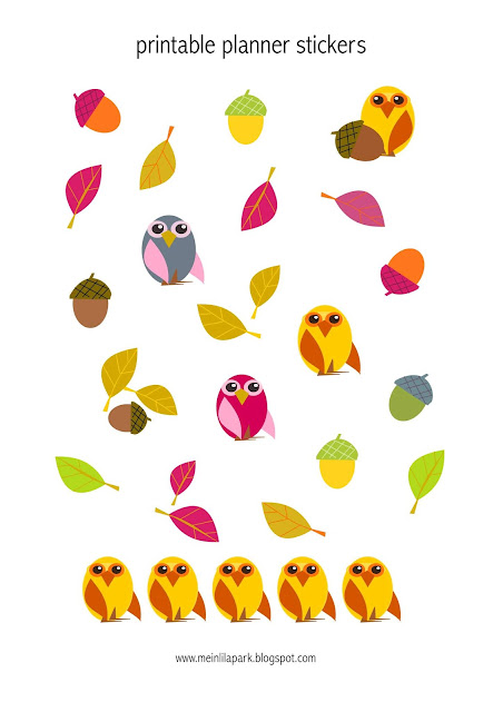 Printable autumn stickers with owls and leaves - ausdruckbare Agendasticker - freebie