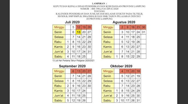 Kalender Pendidikan Tahun 2020/2021 Provinsi Lampung