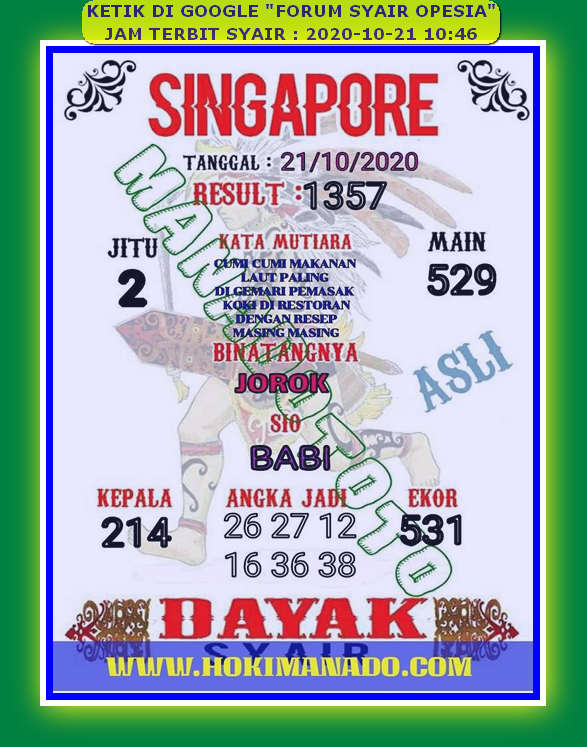 Kode syair Singapore Rabu 21 Oktober 2020 92
