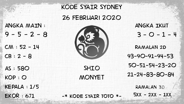 Prediksi Togel JP Sidney 26 Februari 2020 - Kode Syair Toto
