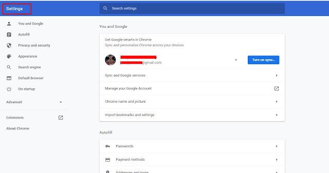 buka settings di google chrome untuk menghilangkan iklan di google chrome