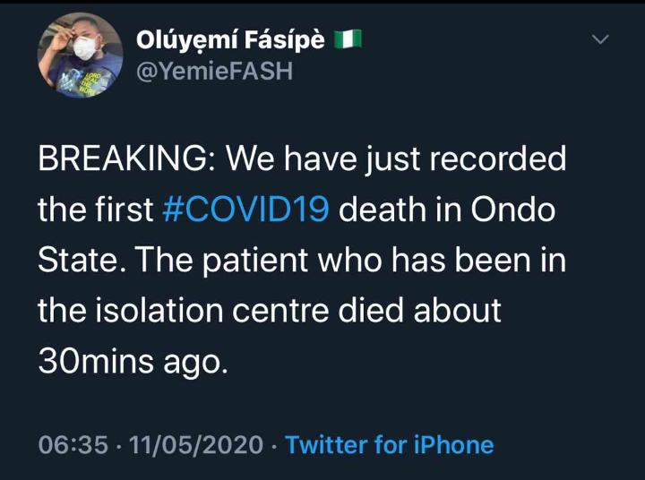 Ondo State Records First Covid-19 Death