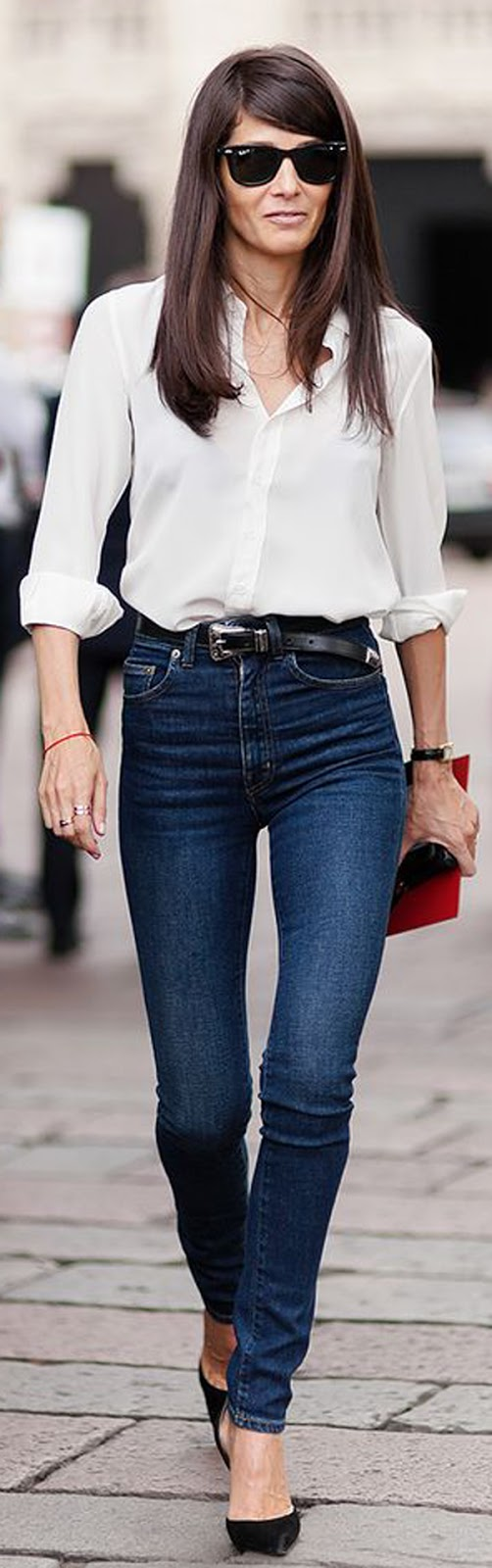 skinny jeans + white blouse