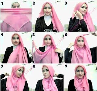 Tutorial Jilbab Pink Segi Empat