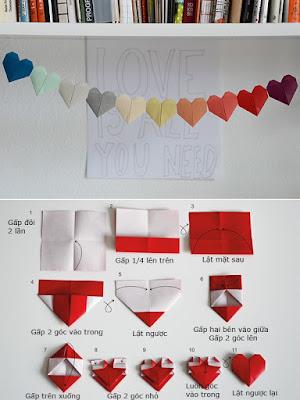 gấp giấy origami hình trái tim