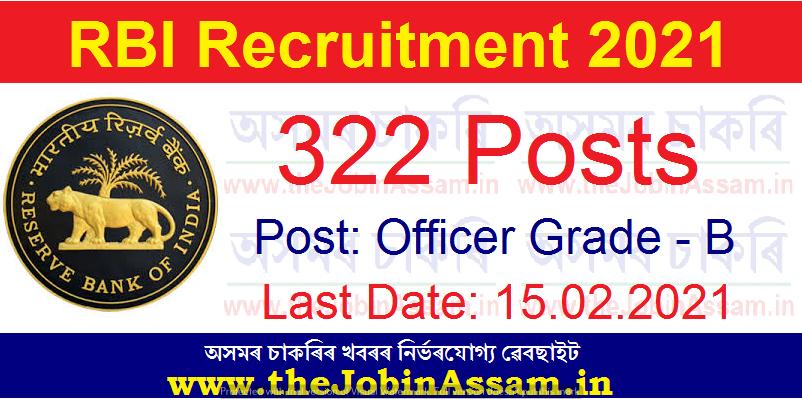 RBI Recruitment 2021: Apply Online for 322 Officer Grade B Vacancy