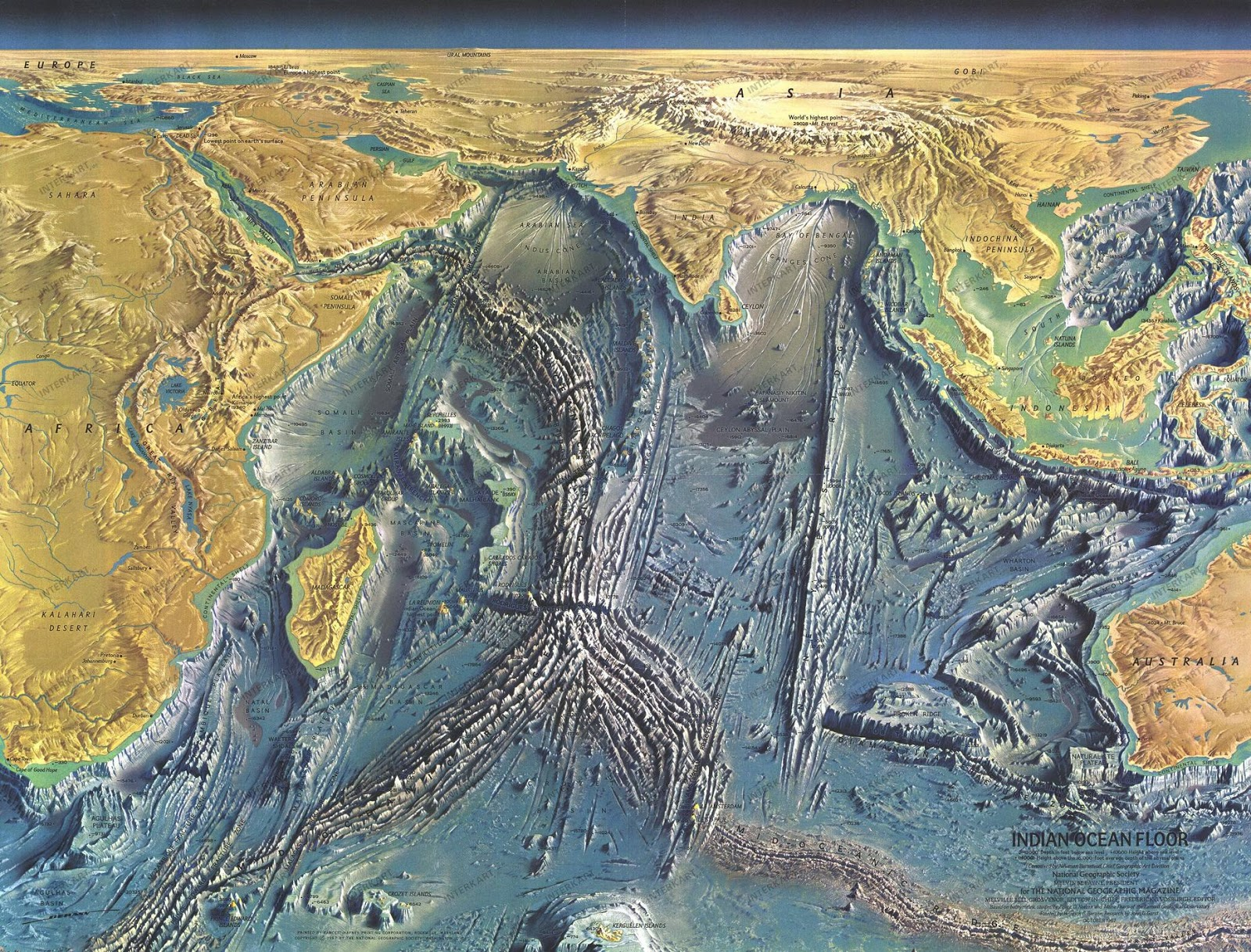 A detailed map of the Indian ocean floor
