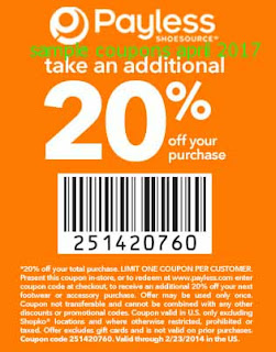 Payless Shoes coupons april 2017
