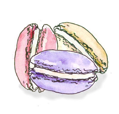 Free illustration of macaroon cookies in pastel colours