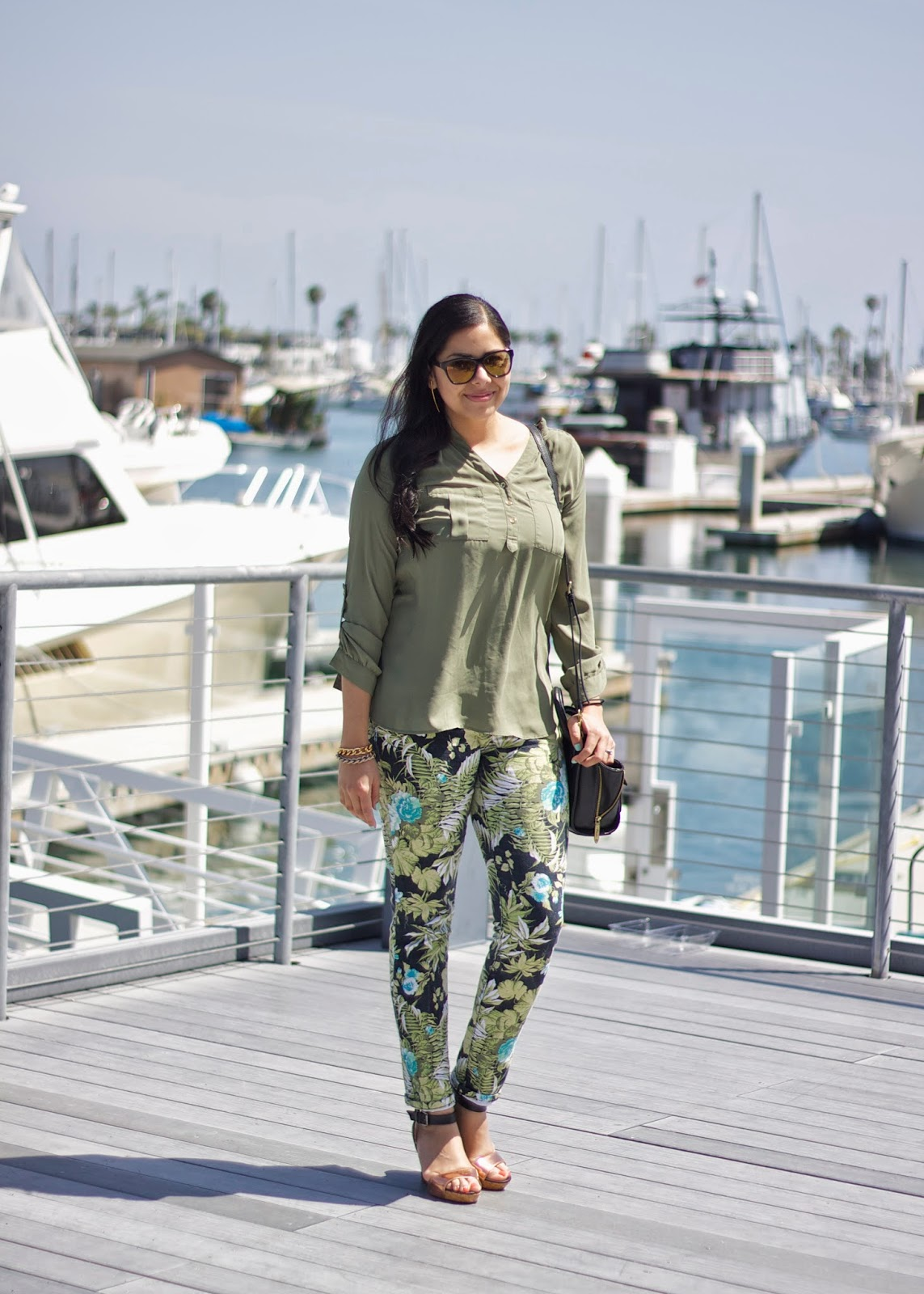 Palm tree printed pants, Palm tree outfit, Palm tree printed denim