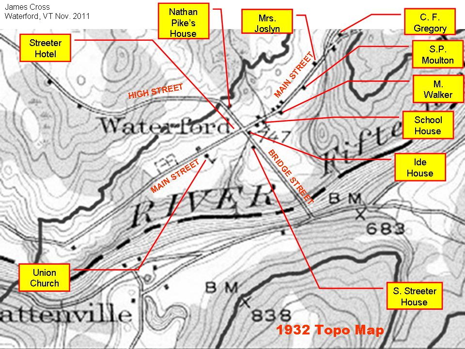 Waterford, Vermont, History: Correlation of 1932 Topo Map with Beers ...