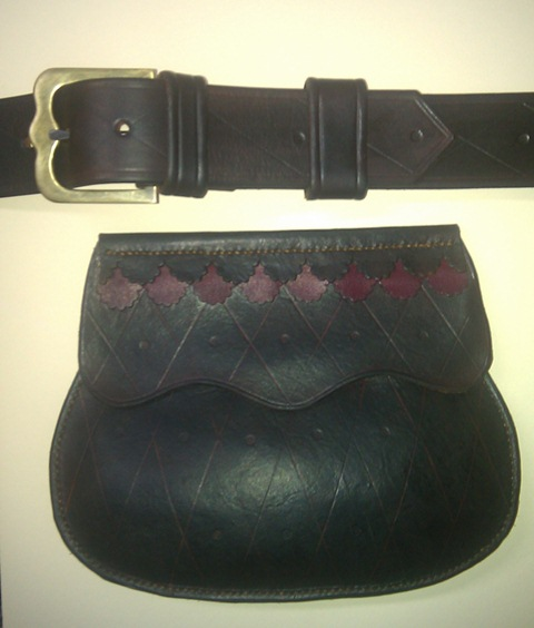 "One of the ""Christmas"" order belt pouches and belt with custom buckle"
