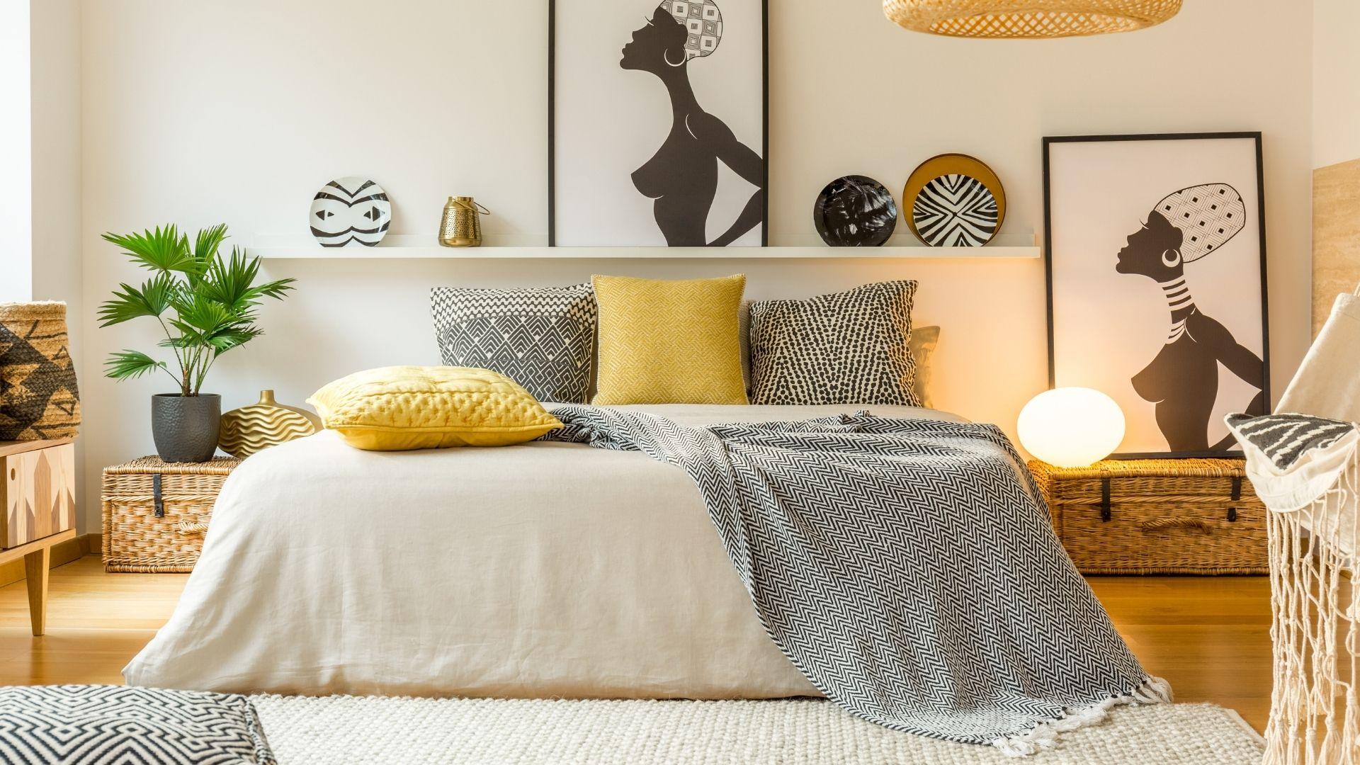 sypialnia w kolorze żółtym