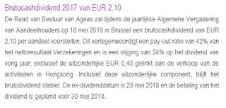 Aandeel Ageas Belgie dividend over 2017