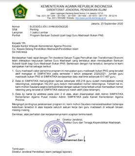 Surat Edaran Program Bantuan Subsidi Upah Bagi Guru Madrasah Bukan PNS