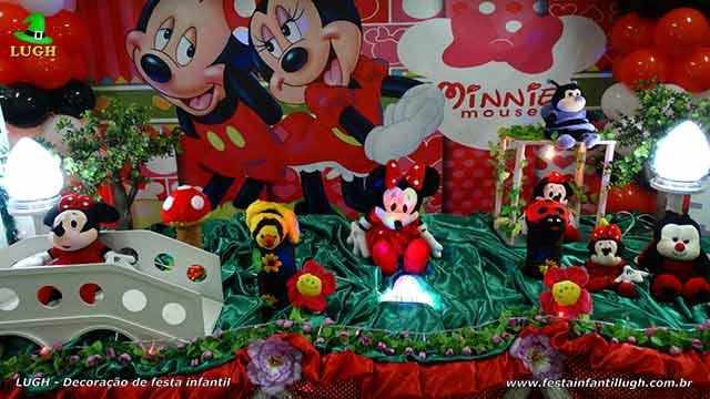 Decoração de festa infantil Minnie - vermelha - mesa forrada de pano