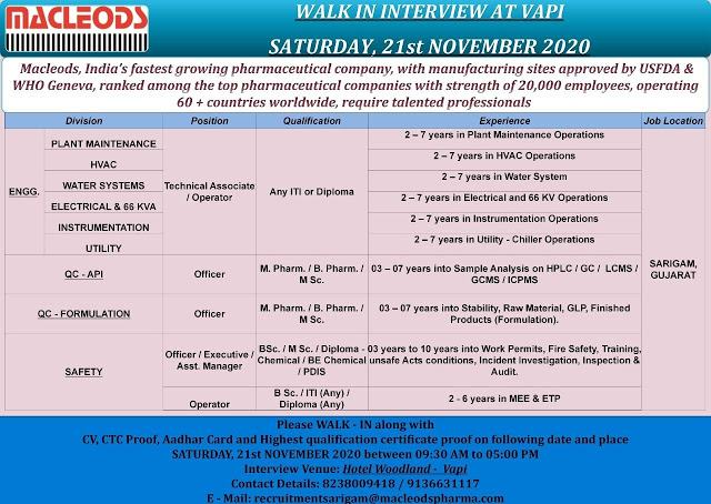 Macleods Pharma | Walk-In  for Multiple Positions in Engineering / QC / Safety on 21st Nov 2020 at Vapi