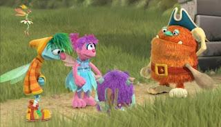 Abby Cadabby, Blögg, Gonnigan, Mrs Sparklenose. Abby's Flying Fairy School Colonial Trolliamsberg. Sesame Street Episode 4421, The Pogo Games, Season 44.