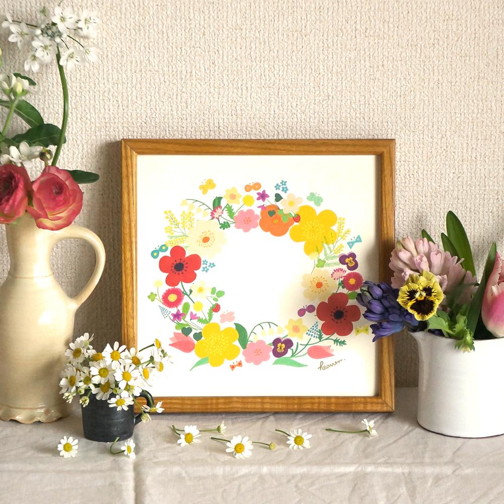新作「春のリース」20cm角ポスターが7つのカラーで出来上がりました♩