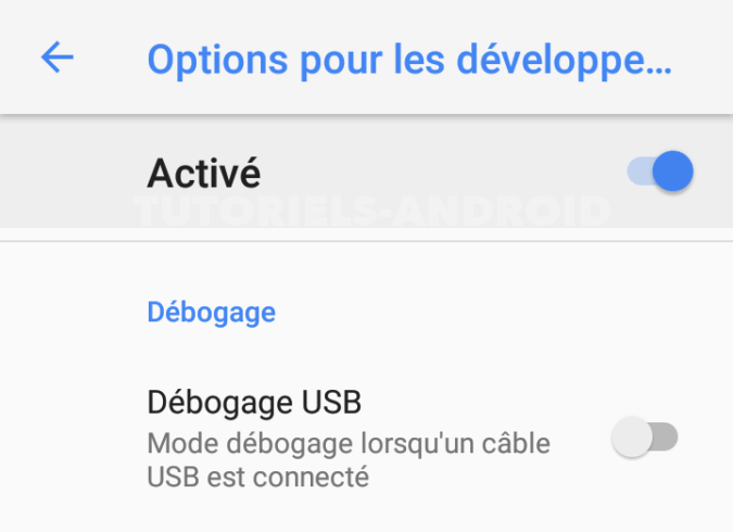 Case débogage USB Android 8 et Android 9