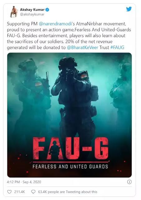 Akshay Kumar shared an FAU-G poster on Twitter