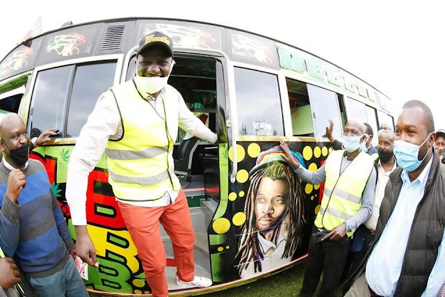 DP William Ruto 'touts' during a matatu handing over to Bodaboda sacco.