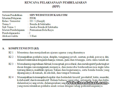 RPP PJOK Kelas 3 Tema 3 Kurikulum 2013 Revisi 2019