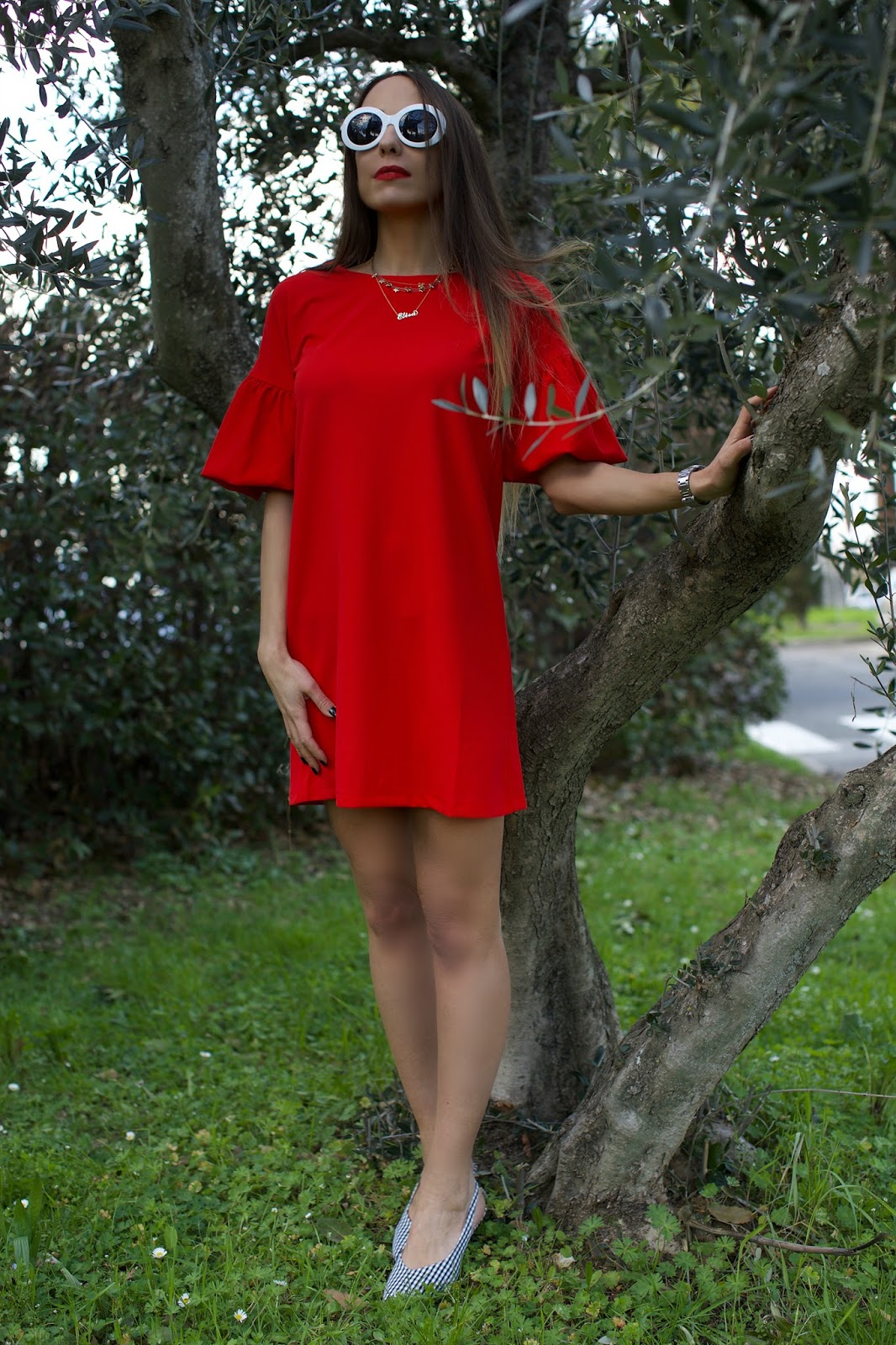 mini abito rosso