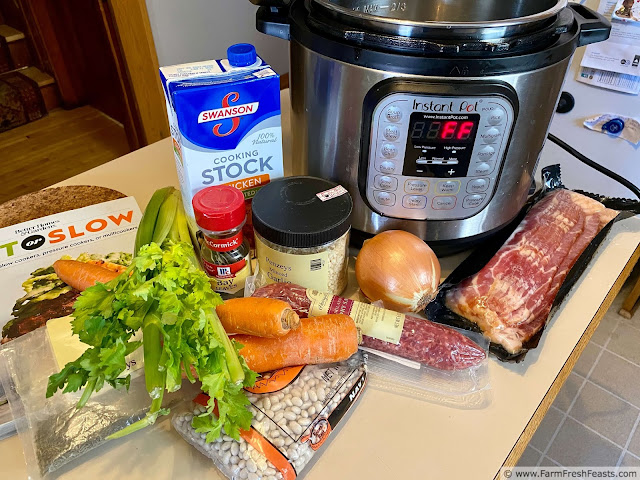 image of ingredients needed to make Instant Pot Hearty Cassoulet