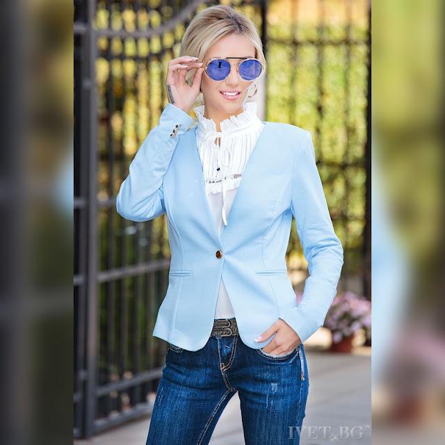 Μακρυμάνικο γαλάζιο γυναικείο  σακάκι MARIELA SKY