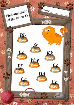 letter c printable worksheet, cat worksheet