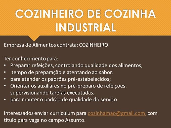 COZINHEIRO E NUTRICIONISTA INDUSTRIAL