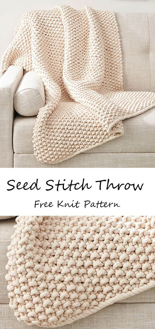 Seed Stitch Throw - Free Pattern