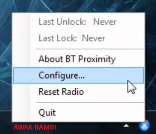 Mengunci Atau Aktifkan PC Menggunakan Bluetooth Telepon